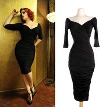 European Retro 50s 60s Vintage Rockabilly Dress Audrey Hepburn Dress Deep V-neck Little Black Dress LBD Black/Red Bodycon Dress