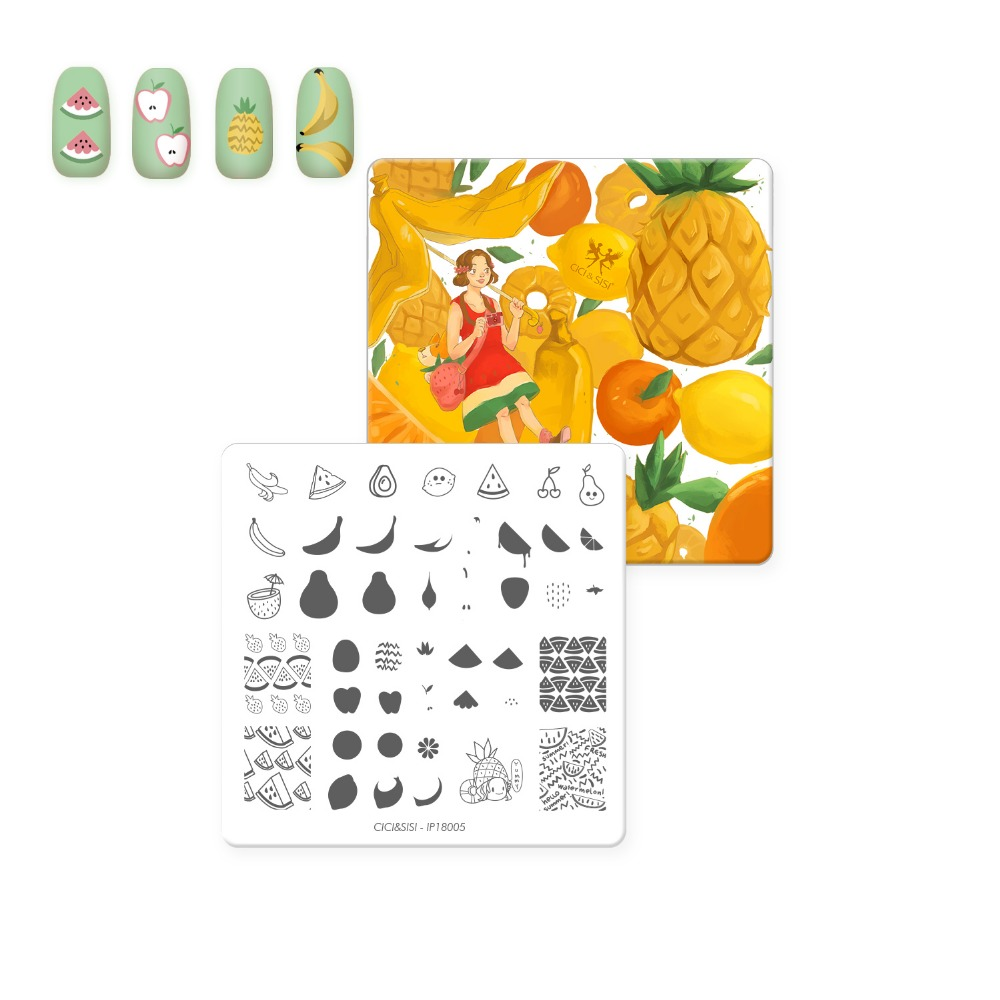 CICI&SISI Acrylic Nail Art Stamping Plate Decorations Konad Stamping Manicure Template Stamp Tropical Fruit Theme