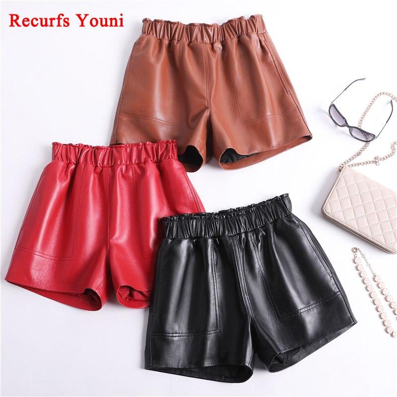 Genuine Leather Shorts For Women Korean Fashion 2018 Elastic Waist Booty Mini Sexy Short Feminino Red