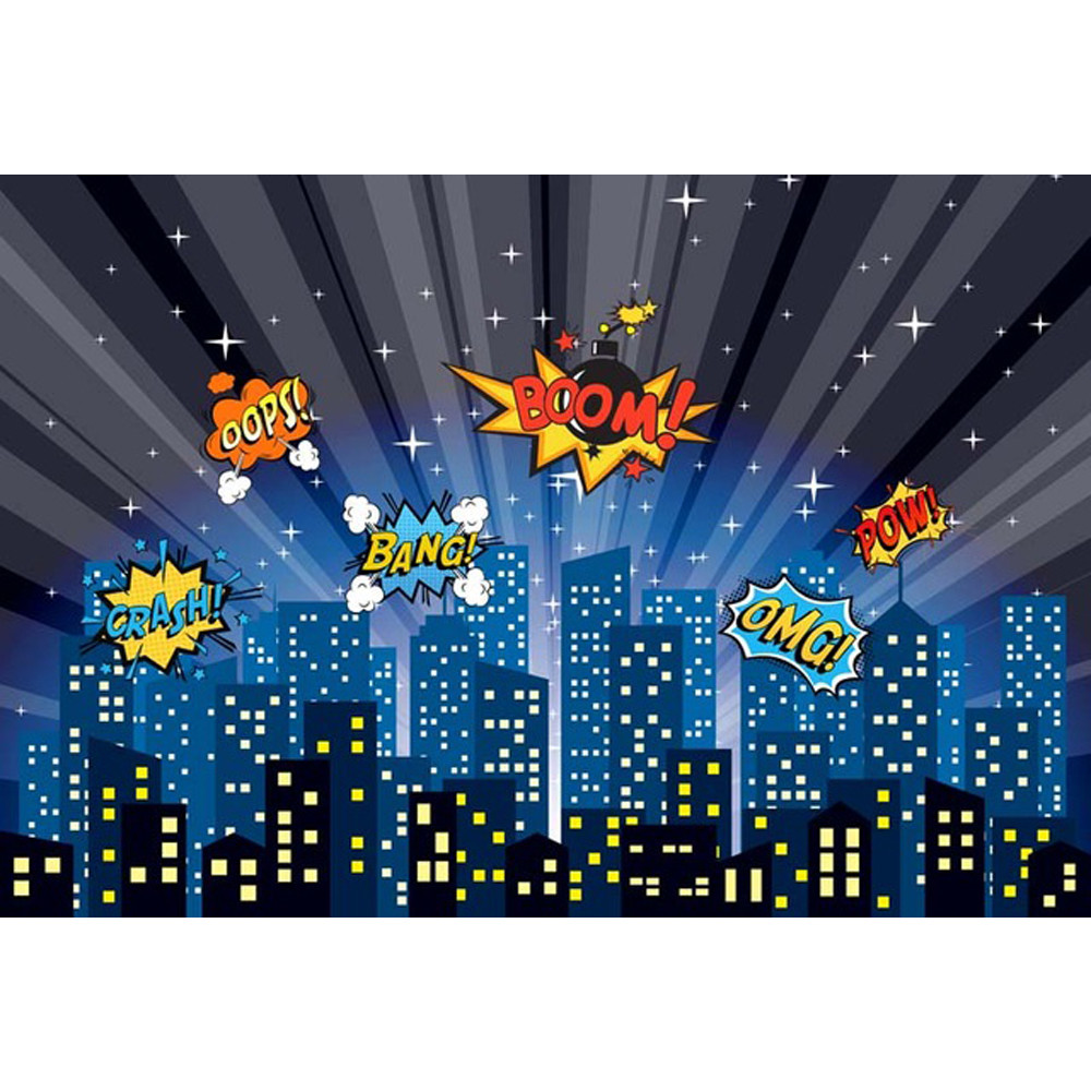 Super Hero Themed Cartoon Backdrop for Photography Night Sky City Buildings Baby Kids Birthday Party Photo Shoot Background ...