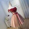 Robe De Soirée 2017 Rojo 3D Flor vestido Corto de Coctel Atractivo dress la novia elegante vestido de fiesta de encargo formal vestidos de cóctel de encaje vestidos