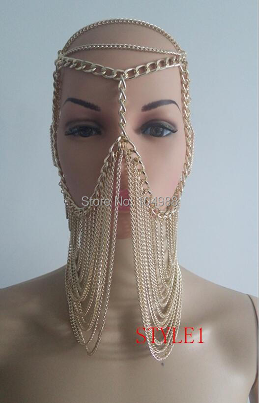 NEW STYLE B736 Women Rock Harness Gold Plated Chains Head Jewelry Unique Design Layers Face Mask Chains Jewelry 3 Colors  chain