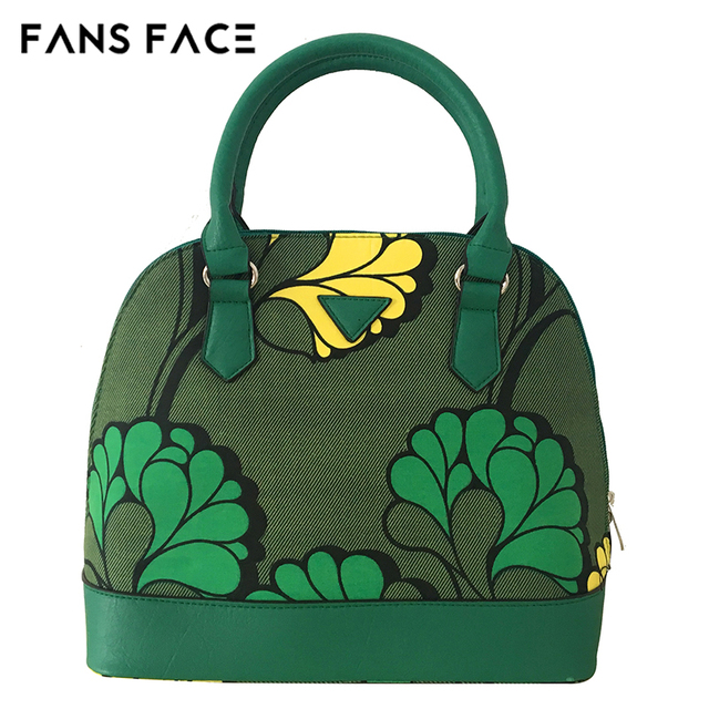 FANS FACE Fresh Summer Style Fashion African Print Green Handbag Female 2017 Luxury Handbags Women Bags Designer 30*16*41cm