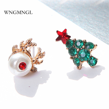 WNGMNGL New Simple Asymmetry Earrings simulated pearl Christmas tree Stud For Women 2018 Fashion Jewelry Gift