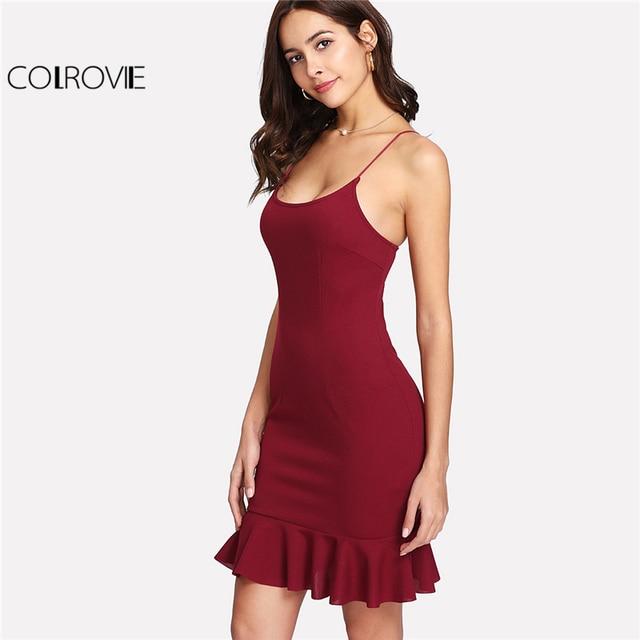 COLROVIE Burgundy Solid Ruffle Hem Form Fitted Short Cami Dress Women 2019  Spring Korean Sleeveless Sexy 5064cc09a7a8