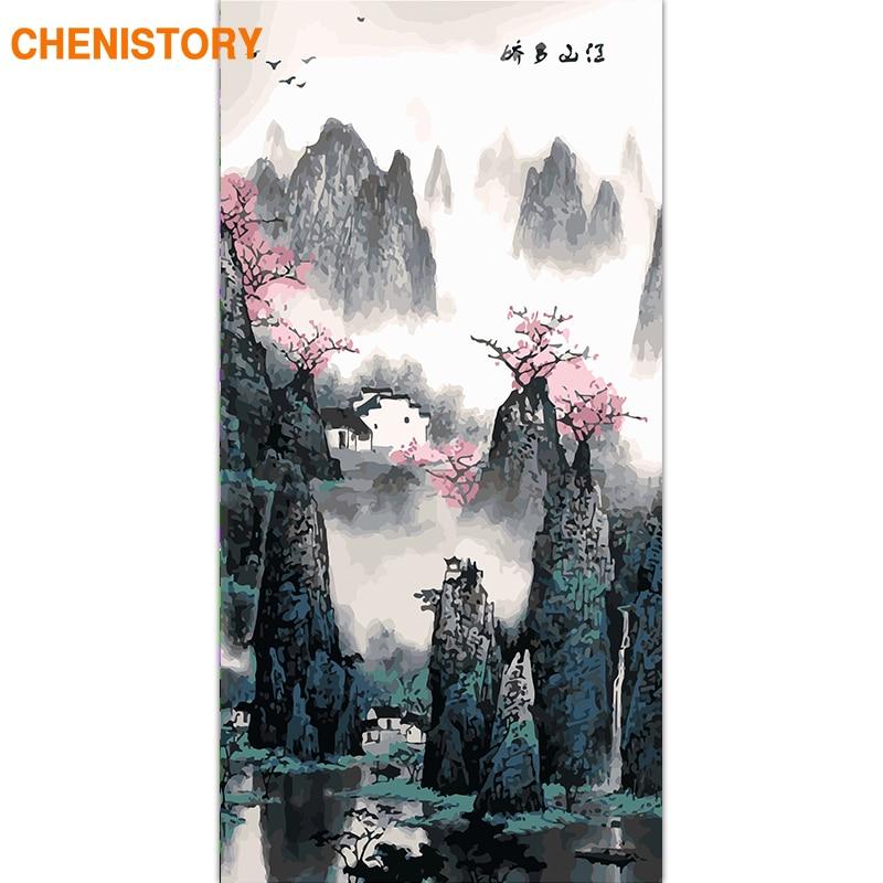 CHENISTORY-cadre de peinture de montagne chinoise | Peinture de montagne, peinture acrylique sur toile, tableau dart pour les Arts du salon