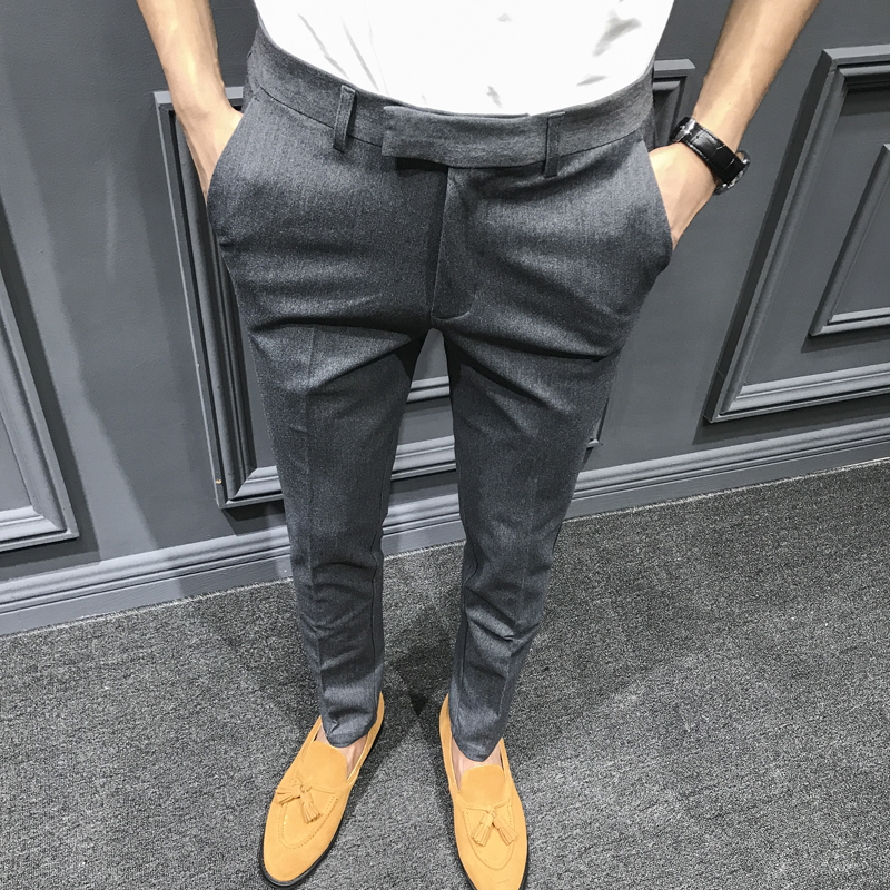 2019 Autumn and Winter New Men's Casual Fashion Suit Pants Business Official Work Men's Trousers Solid Color Slim Feet Pants