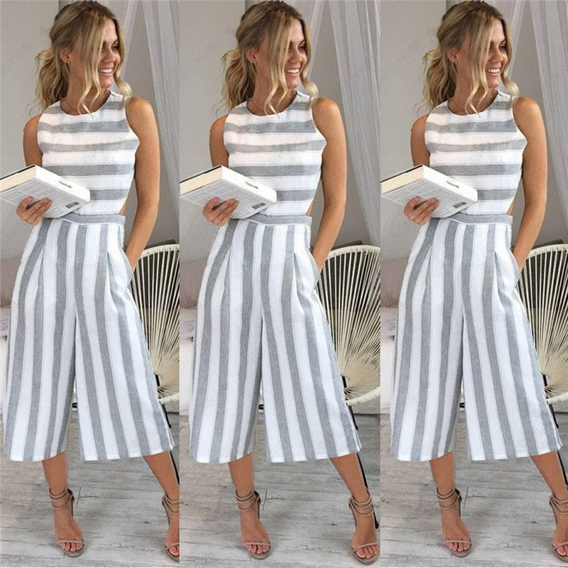 Summer Rompers Women's Jumpsuit Sexy Casual Sleeveless Elegant Striped Wide Leg Pants Playsuits Overalls Trousers Plus Size
