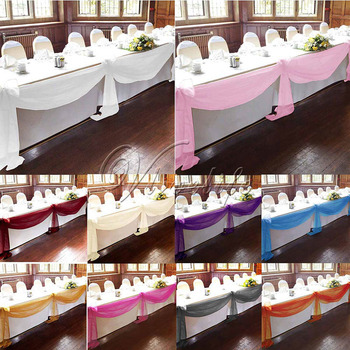 5Pcs/lot 10M x 1.4M Top Table Swags Sheer Organza Swag Fabric Wedding Party Bow Event Banquet Table Decorations DIY Supplies