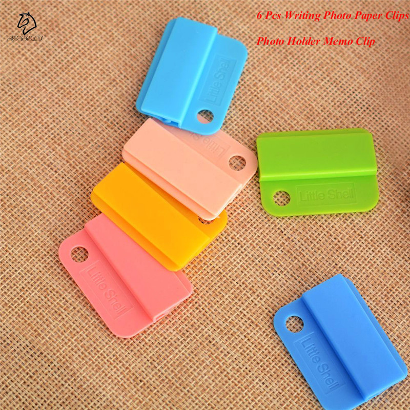 6Pcs Candy Color Decorative Writing Photo Paper Clips School Supplies Photo Holder Memo Clip Office Accessories Drop Shipping