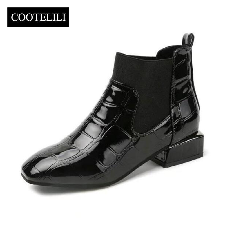 COOTELILI Winter Shoes Women Boots Heels Motorcyle Square Plus-Size Woman Luxury Warm