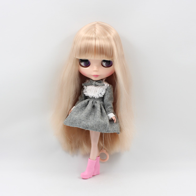 Neo Blythe Doll Grey Dress Grey Bow