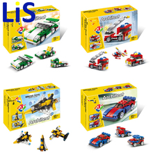 Lis DIY 3in1 Plastic building block set Mini Sport car/Fire truck/Airplane/speeder/racer Kids Bricks Kids toys Christmas gifts