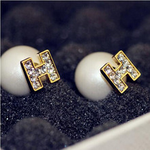 Vintage Pearl Jewelry Zirconia Letter H Stud Earrings Gold Plated Earrings For Women Jewelry Charms CC Earrings Birthday Gift