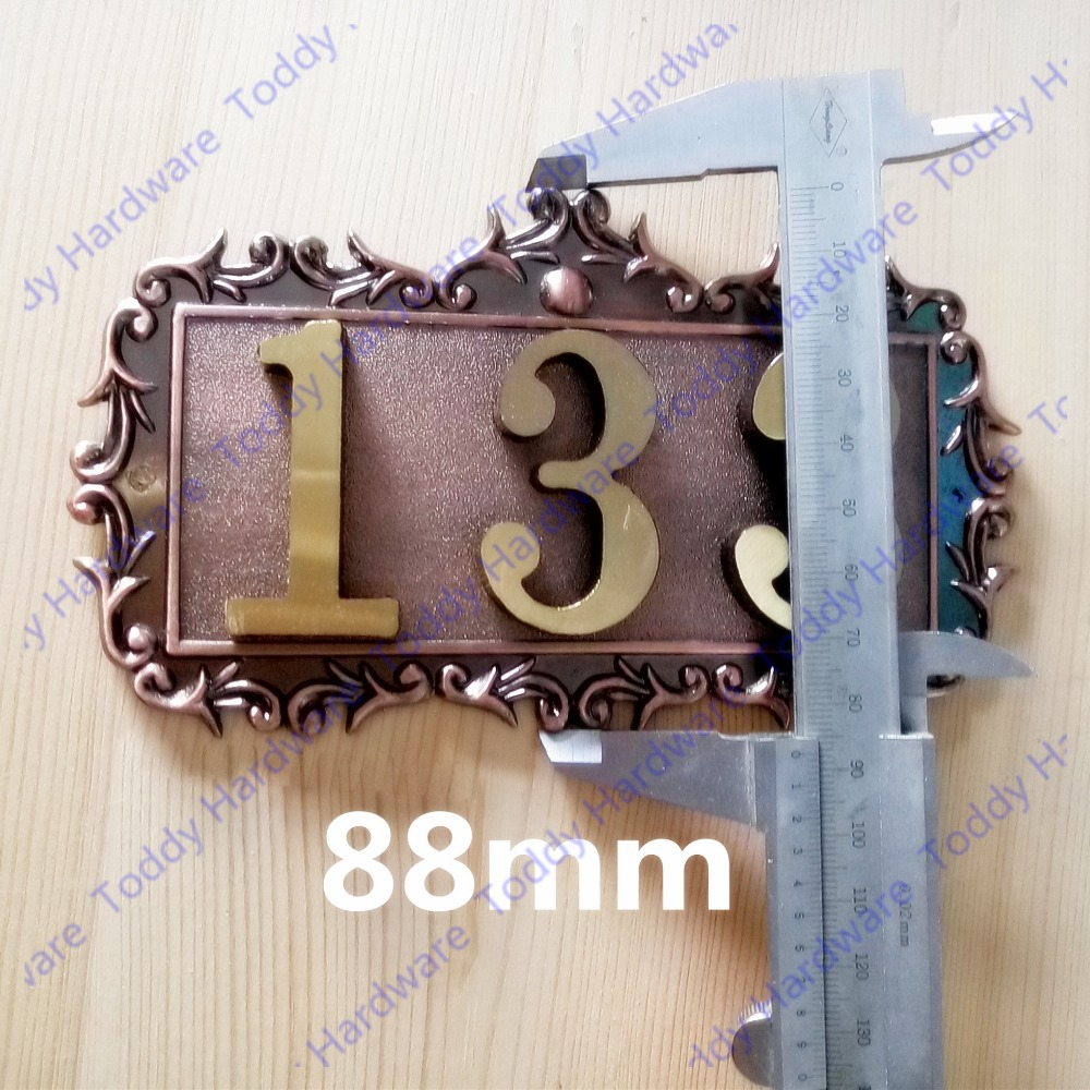 3 Digits New classical European Style Pure copper house number card Villa apartment number s3095 mitx routing to send pure copper fan control in 479 945 motherboard 3 card