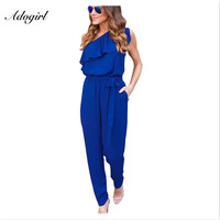 Adogirl 2017 Elegant One Shoulder Ruffles Long Jumpsuits Women Summer Chiffon Rompers Slim Bandage Overalls Body
