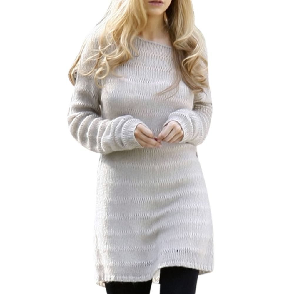 2017 New Women's Off Shoulder Knitted Sweater Long Sleeve Oversize ...