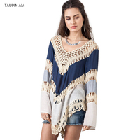 Women Blouses Shirts Long Sleeve Top Boho Style Crochet Beach Blouses Summer V Neck Loose Casual