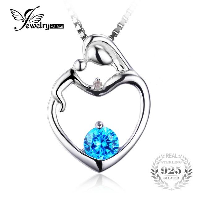 Jewelrypalace genuine topázio azul gem stone pingente real 925 sterling silver marca de jóias charme presente para as mulheres sem uma cadeia