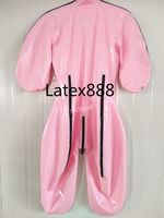 100% Latex Rubber Sweet Pink Catsuit Zipper Bodysuit Suit Size XXS XXL