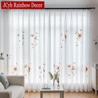 Moderno chiffon handwork branco tule cortinas para sala de estar quarto organza sheer cortinas para janela voile cortina cortinas
