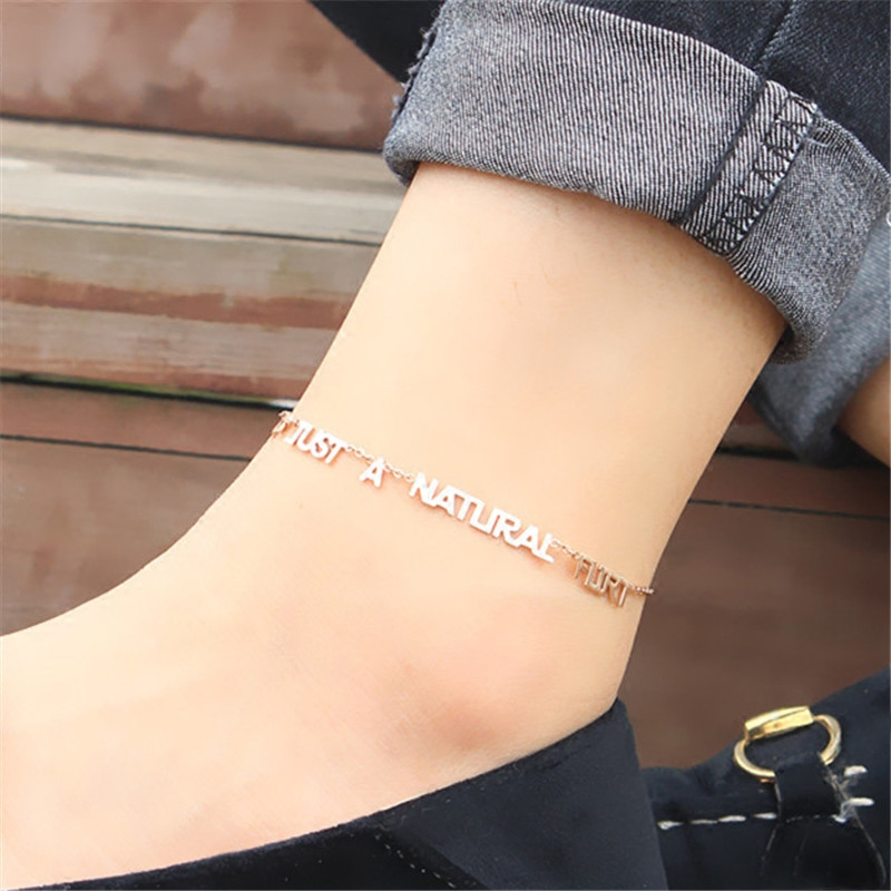 New Fashion Letter Words Charm Foot Chain Women Rose Gold Color Anklet Titanium Steel Fe ...