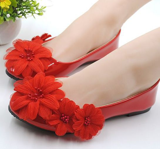 Red flat shoes for women ladies fashion bridal wedding bridesmaid ...