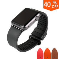 MAIKES New Watch Accessories Black Rubber Watchbands For Sports Apple Watch Strap 42mm 38mm Men Series
