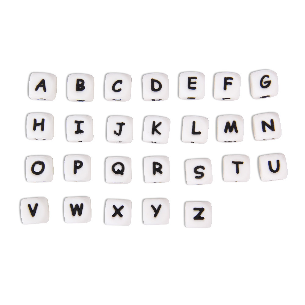TYRY.HU 10 pieces English Letter Beads Silicone Food Grade Baby Teether DIY Necklace Pacifier Chain Silicon Teether BPA Free 10pc cube silicone letter beads personalized name letter bracelet chewing alphabet beads food grade silicone 12mm