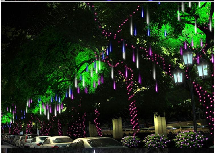 waterproof LED Meteor Shower Rain Tube Lights Outdoor 220v New year Christmas Led Tree light Festival ip65 30cm 8pcs/suit x60pcs