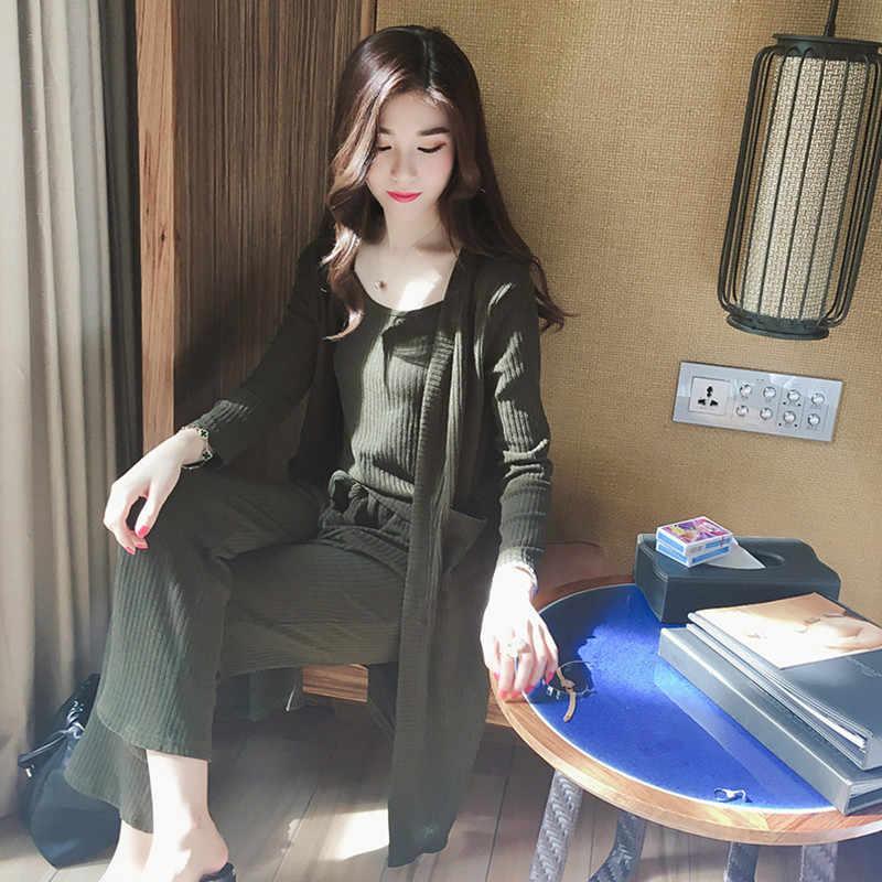 2018 Rahat Eşofman Kadınlar 3 Parça Set örme kazak Kazak Üstleri Derin V Yaka Uzun Kollu Kazak Pantolon kadın Setleri