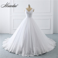 2019 Simple White Wedding Dresses Princess long Applique Puffy Ball Gown Bridal Dress Robe De Mariee Spring vestido de noiva New