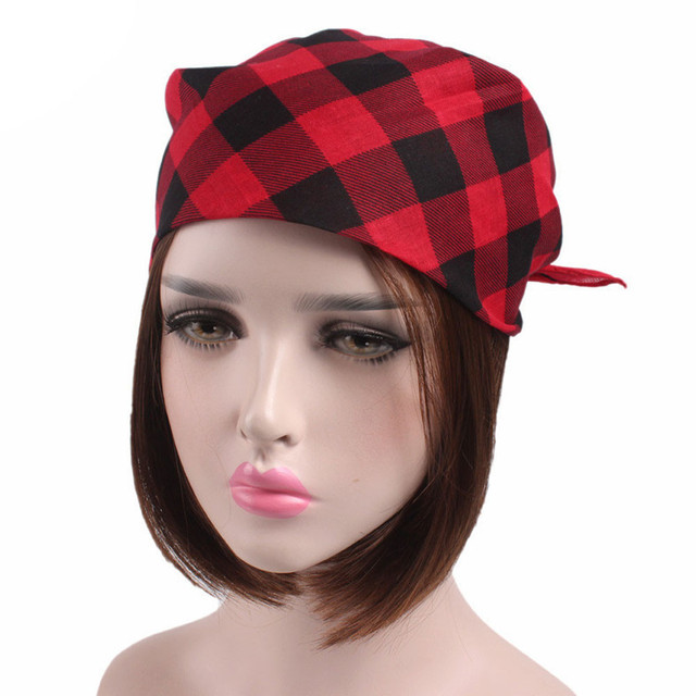 16139d1bda8 Fashion headband Women Men Plaid Bandanas Head Wrap Turban Hair Accessories  Headband hot sale headwear