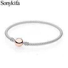 Sonykifa высокого качества стальной розовый проводник тонкий браслет и браслет для женщин подходят оригинальные DIY бусины Шарм браслет ювелирные изделия