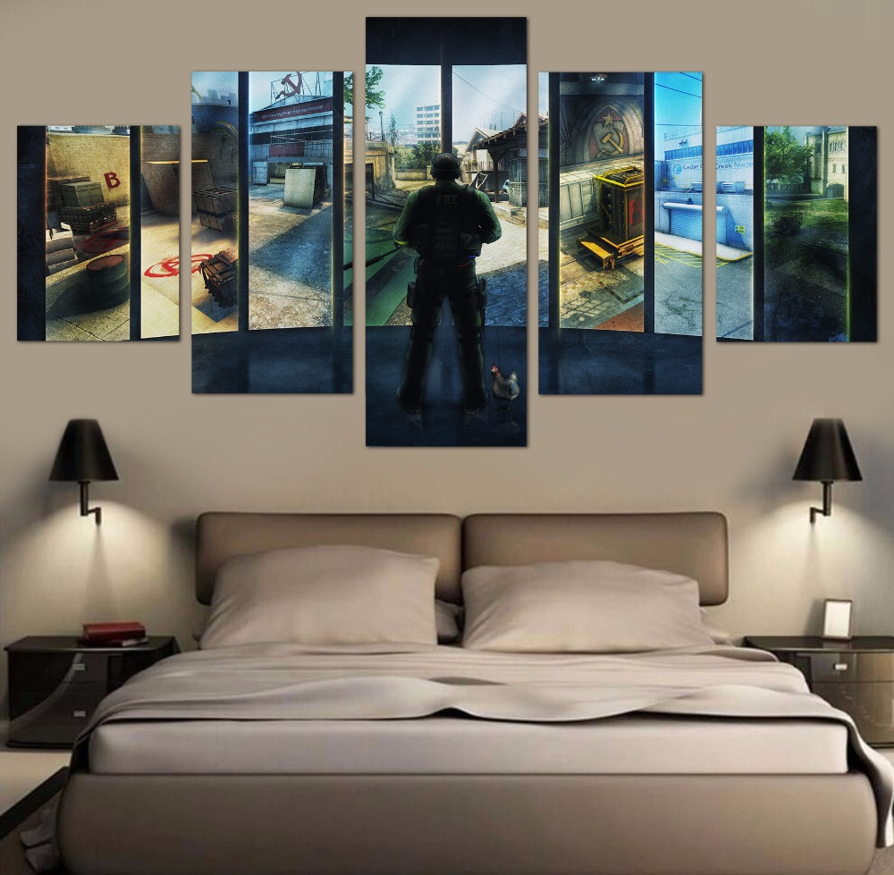 Home decor paintings - Aliexpress Com Buy 5 Pieces Hd Art Counter Strike Game Modern For Home Decor Paintings On Canvas Wall Art For Home Decorations Wall Decor Art From