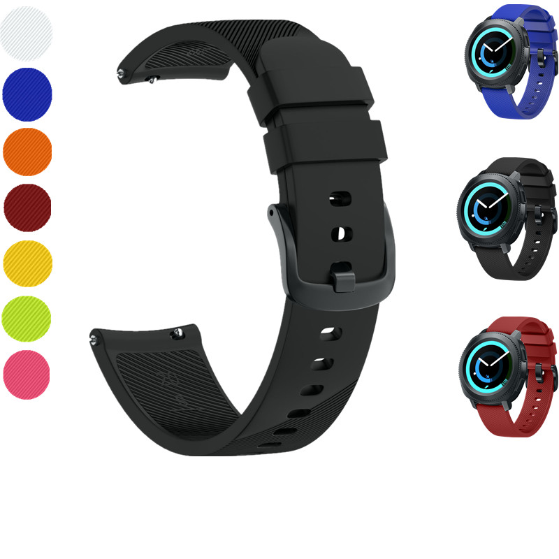 ASHEI 20mm Black Metal Buckle Silicone Strap For Samsung Gear Sport Bands Replacement Watchband for Samsung Gear S2 Classic Band аксессуар ремешок samsung et srr72mlegru для gear s2 gear s2 sport black blue