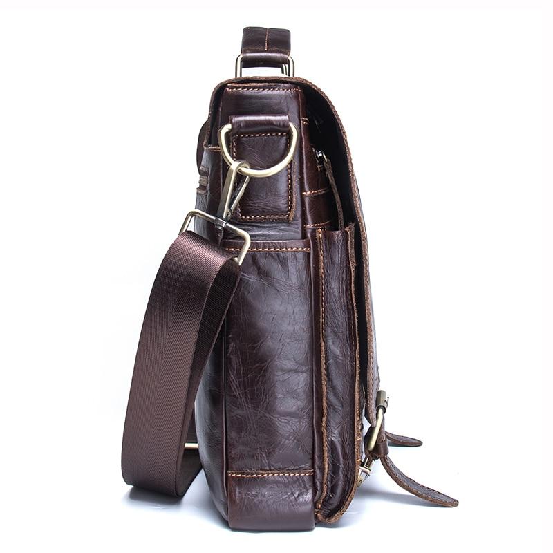 CONTACT'S 2019 Men Retro Briefcase Business Shoulder Bag Leather Handbag Bag Computer Laptop Messenger Bags Men's Travel Bags 2