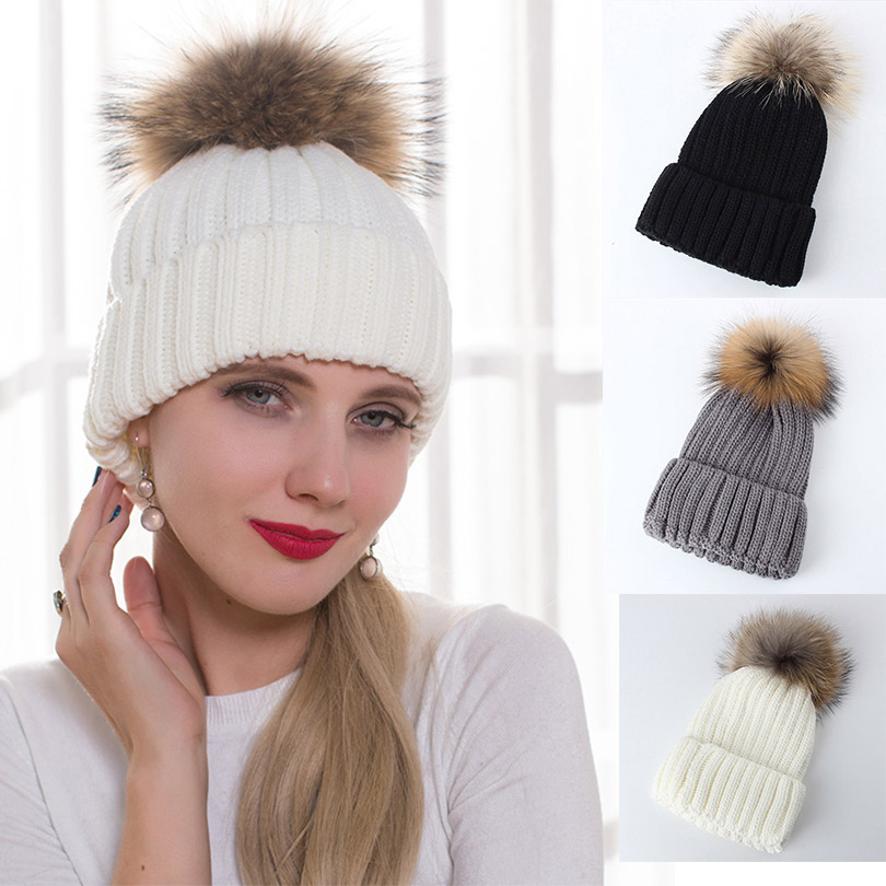 36950b65356 Winter Fur Pom Pom Hat For Women Genuine Raccoon Fur Ball Accessories  Fashion Warm Casual Female Real Fur Beanies Cap Pompon Hat-in Skullies    Beanies from ...