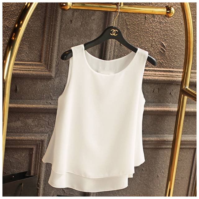 Banerdanni Women's Blouse New Arrival 2018 Summer Sleeveless O-Neck Chiffon Blouse Plus Size 5XL 4XL Casual Black Shirt For Girl