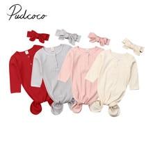 Детские спальные мешки для новорожденных, хлопковое Пеленальное Одеяло с длинными рукавами, ребристый спальный мешок, повязка на голову, комплект из 2 предметов