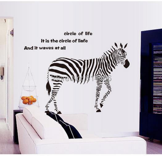 Classic Animal Wall Stickers Zebra Wall Decor Art DIY Home Office Shop  Showcase Door Decoration Wall