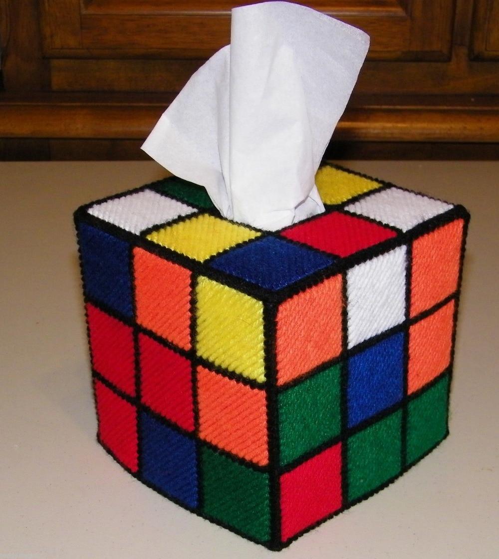 DIY cross stitch Rubik's Rubiks Cube Tissue Box Cover Kit