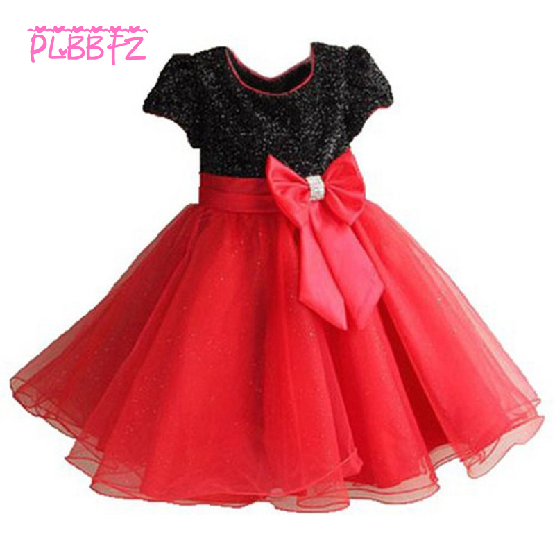 Retail Hot Sale Princess   Flower     Girl     Dresses   With Bow Glitter Shine   Girls   Birthday Summer   Dress   1272
