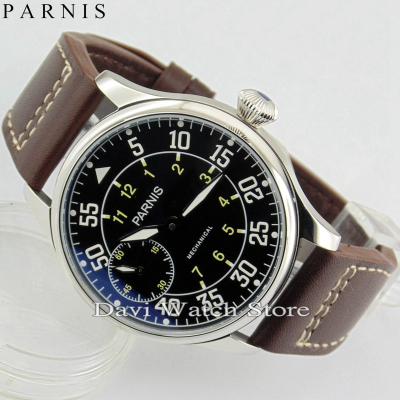 Watches Symbol Of The Brand 47mm Parnis White Dial Stainless Steel Case Leather Strap Top Brand Luxury Newest St 6497 Mechanical St Manual Wind Mens Watch