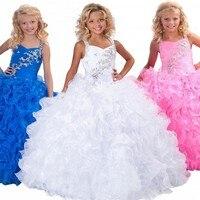 2015 fashion balo flowergirls için fanny pembe kabarık elbise çocuklar Kızlar Için Güzellik Yarışmasında Elbiseler Havai Fişeklere Çiçek Kız elbise