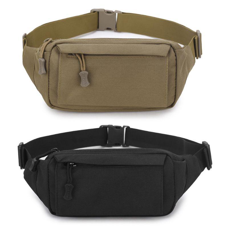 THINKTHENDO Men Fanny Pack Chest Shoulder Bag With 3 Pockets Nylon Minitary Waist Bag 2018 Zipper Belt Bag Black/Khaki