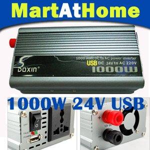 Free Shipping 500/800/1000/1200 watts 24V DC to 220V AC Power Inverter w/ 5V USB Port Modified sine Wave #10185 @CF