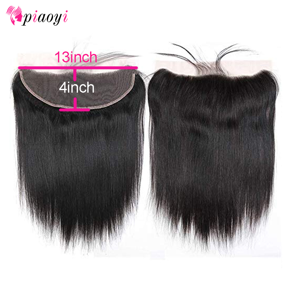 Piaoyi Frontal-Closure Human-Hair Lace Pre-Plucked Black-Color Natural Straight Malaysian