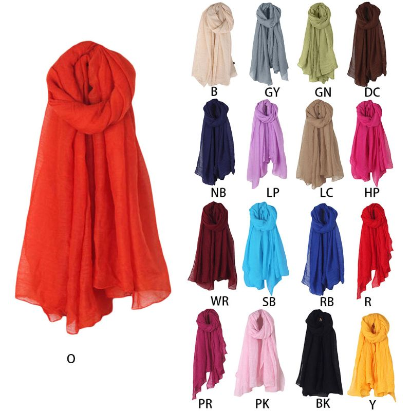 2019 Fashion New 16 Colors Women Long   Scarf     Wrap     Scarves   Vintage Cotton Linen Large Shawl Hijab Elegant Solid Black Red Whi