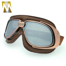 Mirrored Lenses Goggles font b Helmet b font Glasses Motorcycle Goggle Vintage Pilot Eyewear Biker Leather